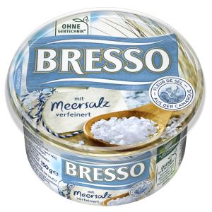 Bresso Produkt packshot Frischkäse Becher Meersalz verfeinert