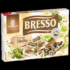 Bresso Produkt packshot Portionen drei Sorten Pfeffer