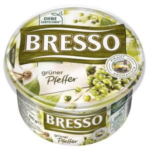 Bresso Produkt packshot Frischkäse Becher grüner Pfeffer