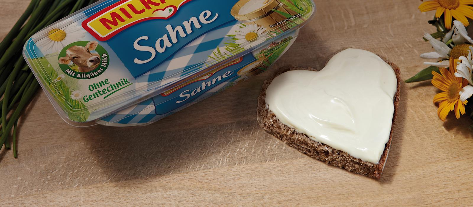 Milkana Herz Brot Frischeschale Sahne