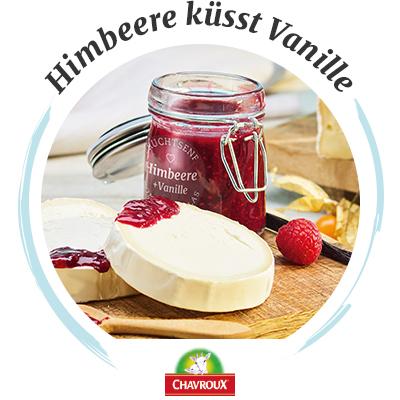 Käsebegleiter: Chavroux Ziegenkäse & Himbeer-Vanille-Fruchtsenf