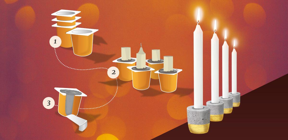 DIY Adventskranz Kerzen