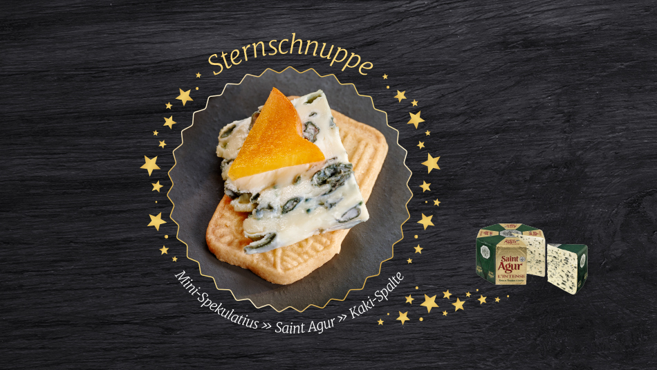 Köstliche Käseplätzchen mit Saint Agur Blauschimmelkäse und fruchtiger Kaki.