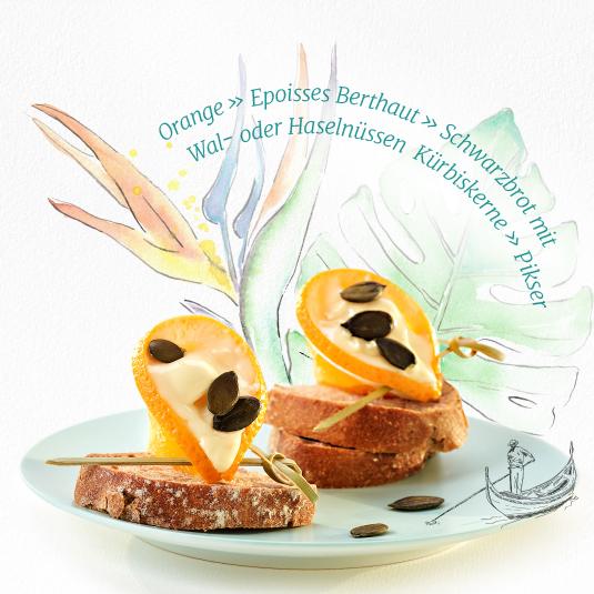 Orange » Epoisses Berthaut » Schwarzbrot mit Wal- oder Haselnüssen