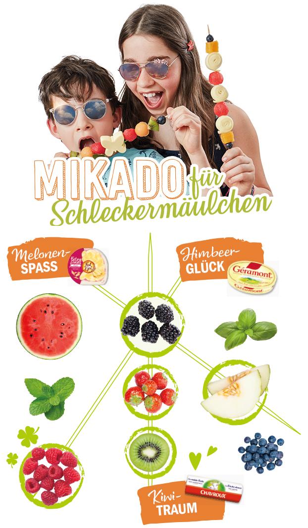 Mikado mit Obst und Käse für Schleckermäulchen