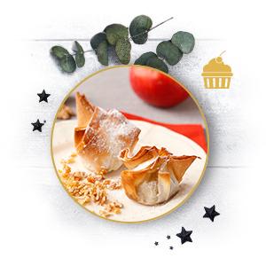 Dessert: Käse-Früchte-Taschen mit Krokant
