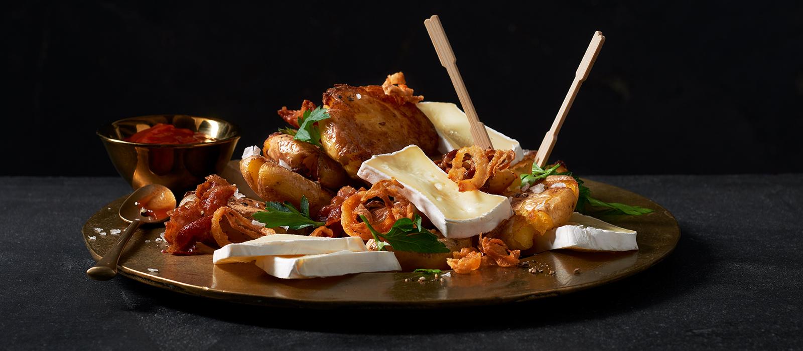 Quetschkartoffeln mit Géramont und Speckbröseln