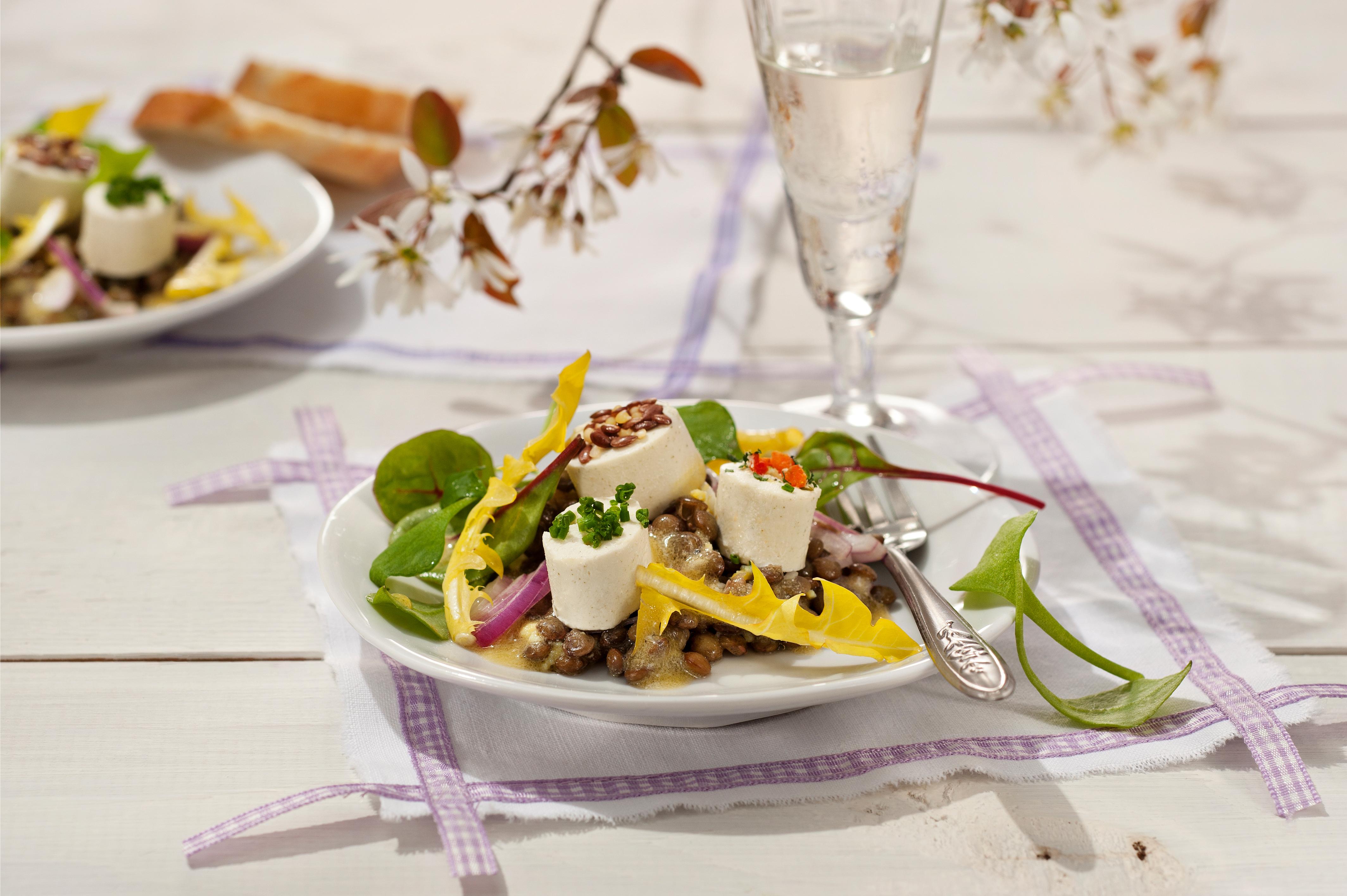 Bresso Antipasti Kräuter auf Linsen-Salat - genussvoll kochen